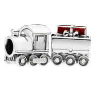 PANDULASO Original 925 Sterling Silver Christmas Train Charm Bead Fits Pandora Bracelet DIY Jewelry Women 2018 Winter Wholesale