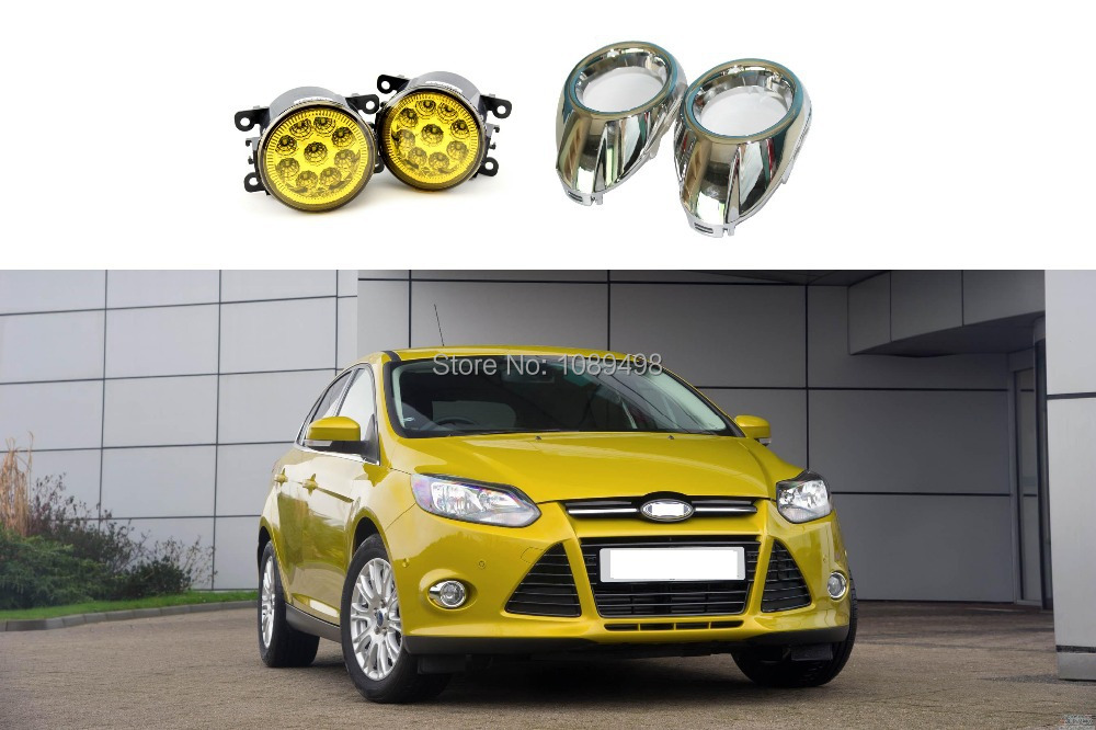 1 Set LED front fog lamps yellow with chrome fog light covers kit for Ford Focus 3 III 2012