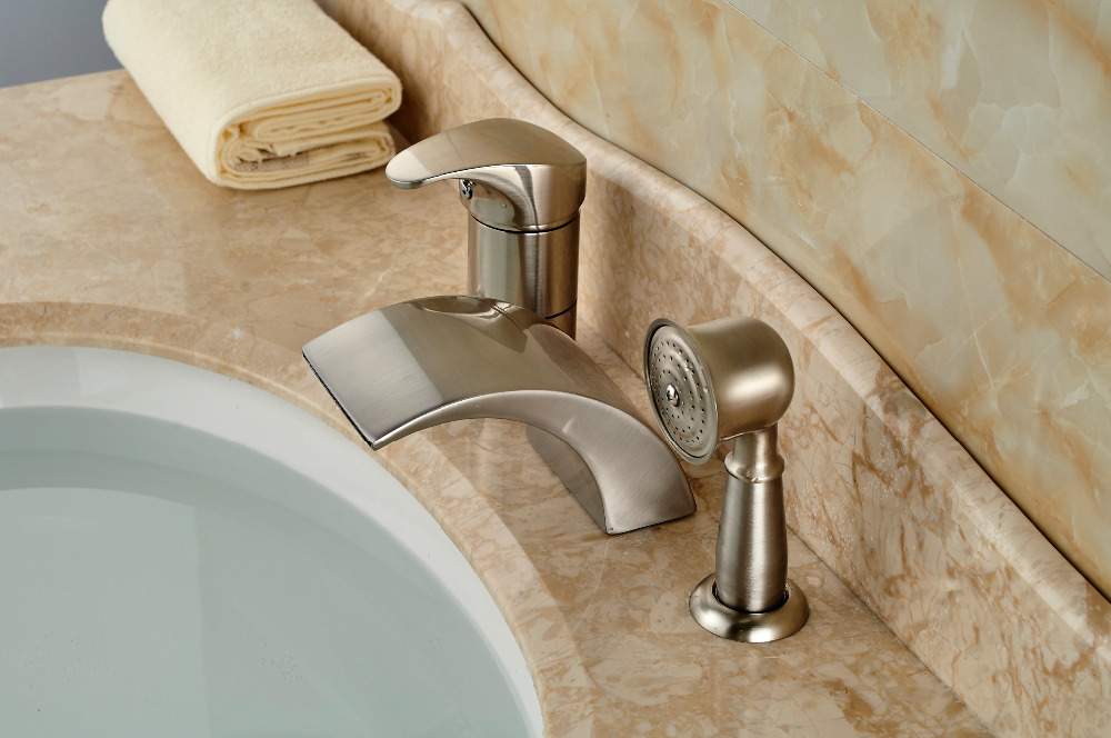 Brushed Nickel Waterfall Roman Bathtub Mixer Faucet Set With Hand - Nickel finish bathroom faucets