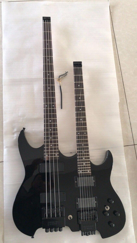 En gros Personnalisé Double Cou Lesshead Électrique Guitare 4 Cordes Basse + 6 Cordes de Guitare En Noir 1711123