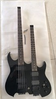 Wholesale Custom Double Neck Lesshead Electric Guitar 4 String Bass+6 String Guitar In Black 1711123