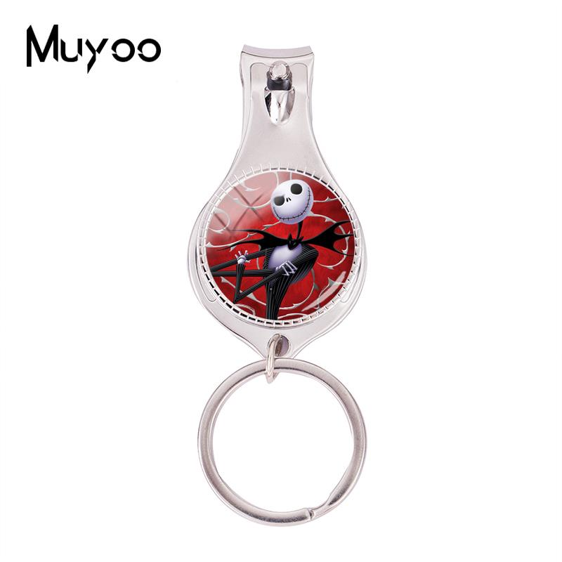 2018 Fashion Nightmare Before Christmas Multifunctional Keychain Jack And Sally Nail Clipper Keyring Glass Jewelry Nail Clippers