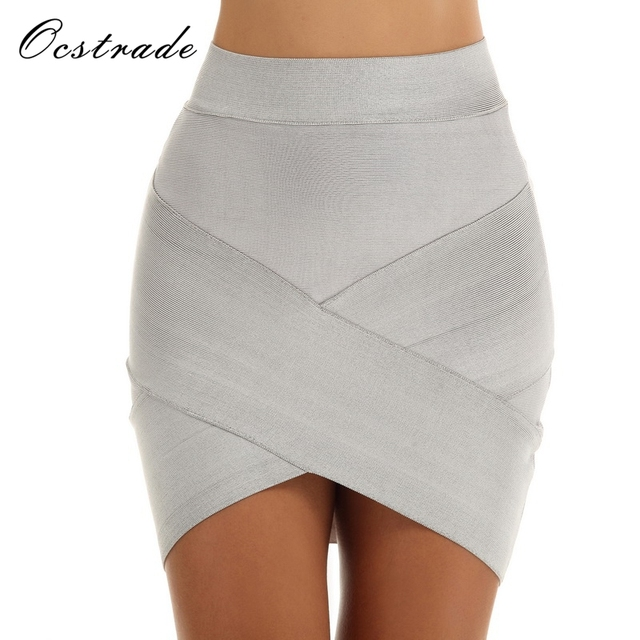 75e5e6ab641c4e Ocstrade New 2017 Summer Grey Asymmetrical Bodycon Bandage Skirt Women Mini  High Waist Skirt RED BLACK