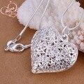 Подвеска ожерелье Посеребренные Ожерелье Женщины Мода Ювелирные Изделия 18 ''Змея Цепи Песок Цветок Полые Сердце Серебряные Подвески LSP218