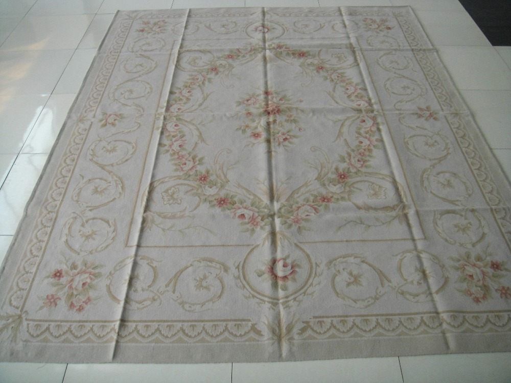 Free shipping  9x12 Stunning French style aubusson carpets hand knotted rugs Woolen French Aubusson RugsFree shipping  9x12 Stunning French style aubusson carpets hand knotted rugs Woolen French Aubusson Rugs