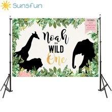 Sunsfun 와일드 한 생일 파티 배경 정글의 배경 photocall 디저트 테이블 장식 비닐 220x150cm