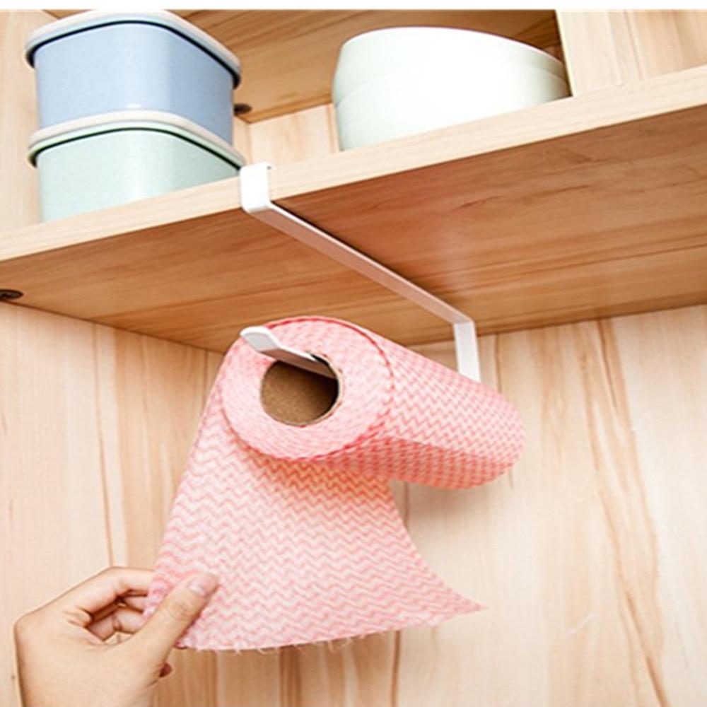 Practical Kitchen Toilet Roll Paper Towel Rack Holder Creative No Punch Cabinet Napkins Hanger Cling Film Storage Wardrobe Door