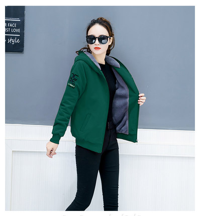 Hooded Sweatshirts autumn and winter women's plus velvet new warm thickening loose fashion letters embroidery versatile coat JQ3 37
