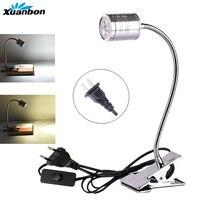 LED tafel bureaulamp EU US Plug met Clip 3 W 5 W Flexibele LED leeslampjes Boek Lamp 360 graden aanpassing AC85-265V