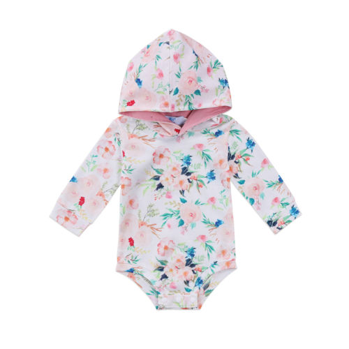 Pudcoco Newborn Baby Girl Xmas Clothes Infant Floral Romper Long Sleeve Hoodie Jumpsuit Outfit Sunsuit Fall Winter Clothing newborn baby backless floral jumpsuit infant girls romper sleeveless outfit