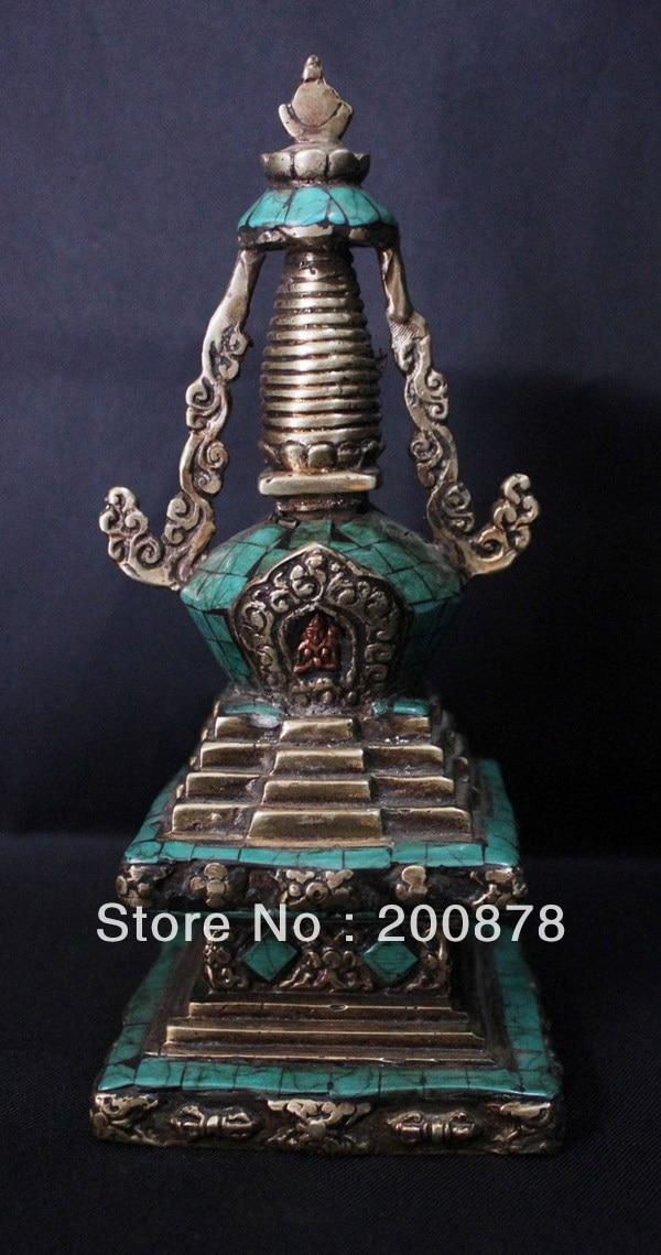 HDC0706 тибетские антикварные латунные инкрустированные бирюзовые буддийские башни амулет, Тибет Непальские металлические украшения