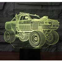 3D LED Night Light Panzer SUV Armored Car With 7 Colors Light For Home Decoration Lamp