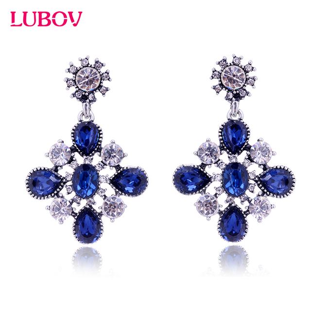 5 Colors Anti Silver color Opal Stone Drop Earrings Women Elegant Crystal Dangle