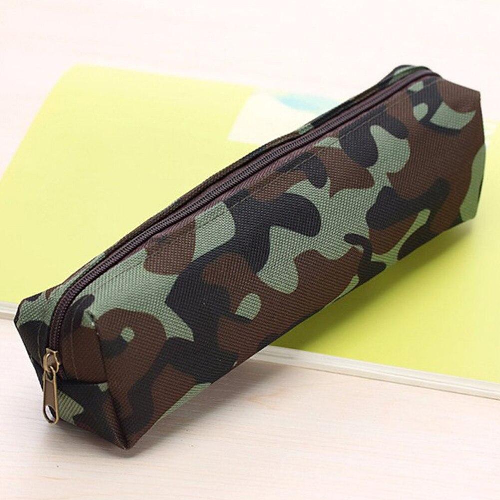 Hot Sale Large Zipper Canvas Camo Pencil Case Stationery Makeup Bag Purse