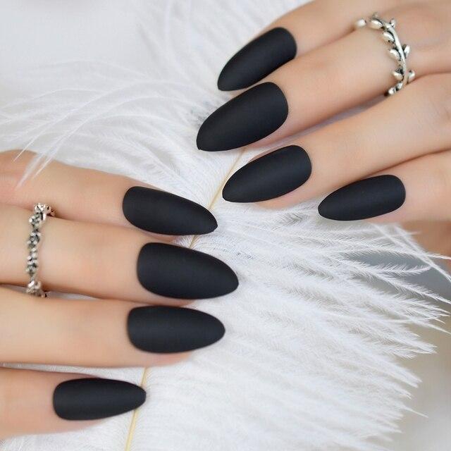 Fashion Matte Press On Nails Cool Black Almond Fake Nail Tips ...
