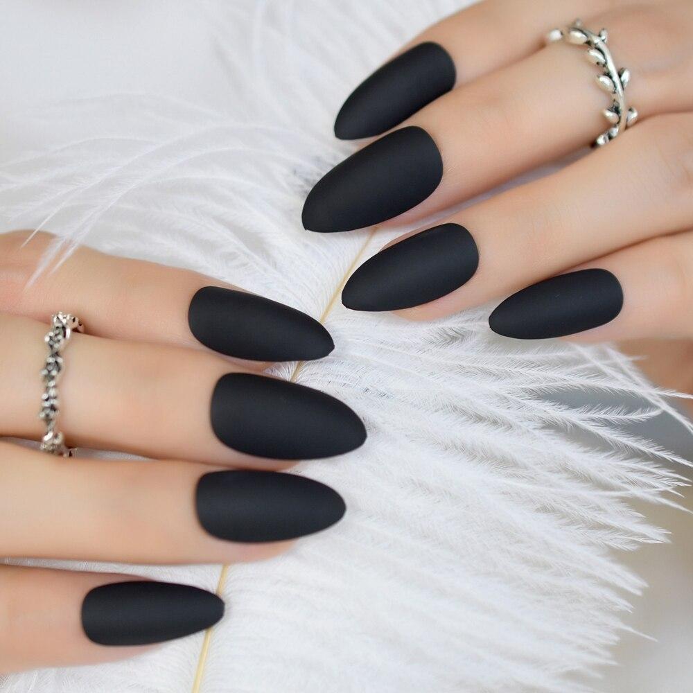 Moda fosco imprensa em unhas legal preto amêndoa falso unhas dicas manicure artificial unhas fácil uso