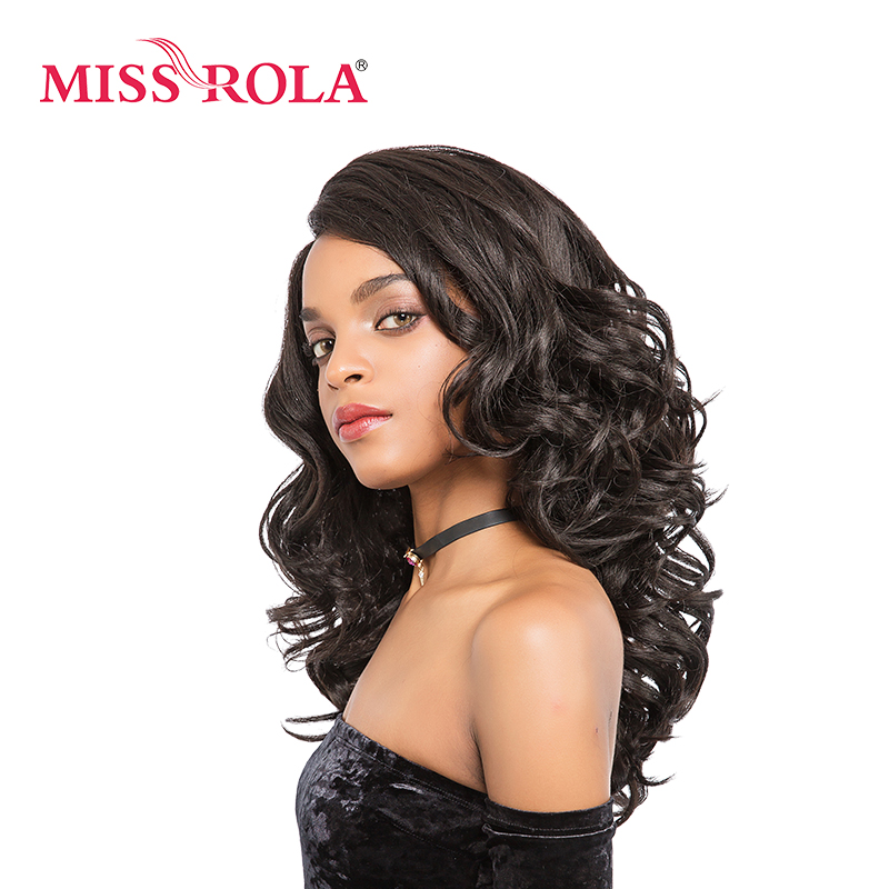 Miss Rola Long Wavy Lace Front Wig Synthetic Hair 2.5-16 Inch Long Hair Wigs For Women 2# Black Kanekalon High Temperature Fiber