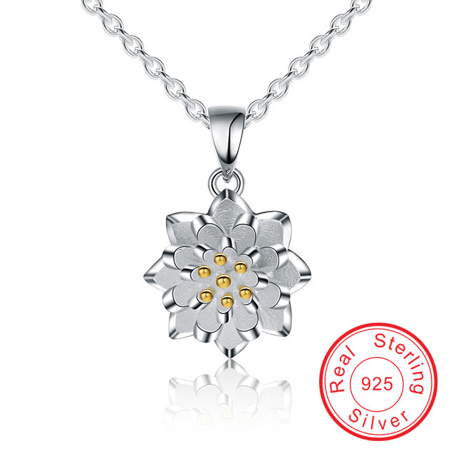 Beautiful lotus flower engagement valentine gift Necklaces & Pendants 925 Sterling silver fine jewelry Necklace for women VCY197