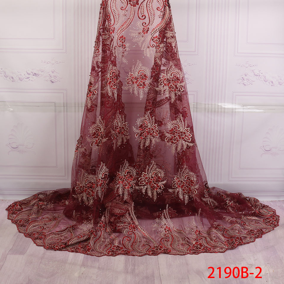 2018 French Lace Fabric Wine Wedding Dress High Quality