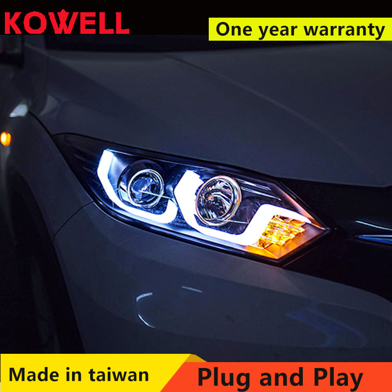 KOWELL Car Styling For <font><b>honda</b></font> <font><b>HRV</b></font> <font><b>headlights</b></font> For VEZEL <font><b>HRV</b></font> LED head lamp Angel eye led DRL front light Bi-Xenon Lens xenon HID image