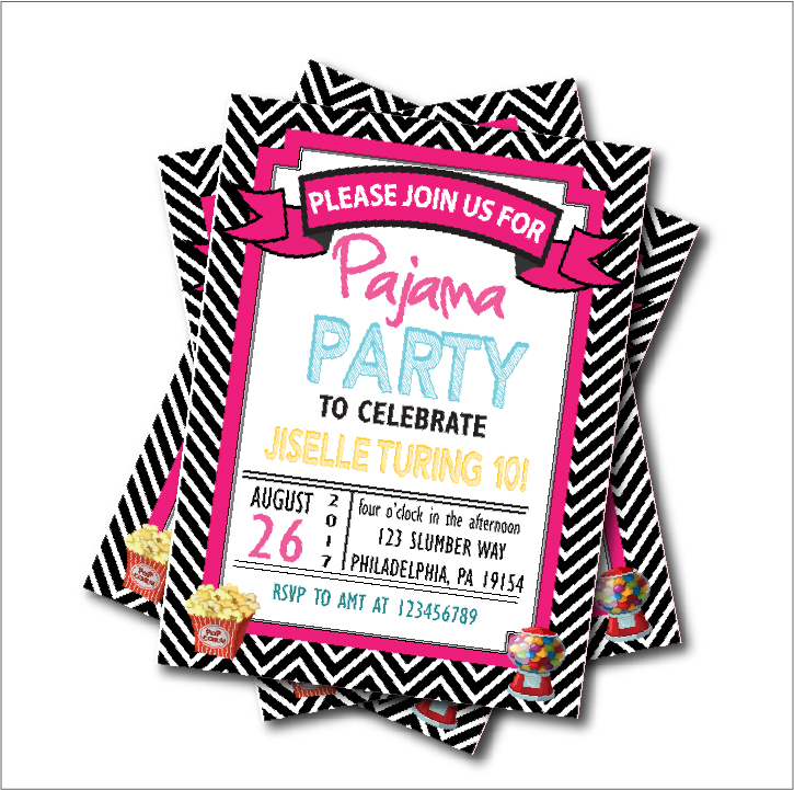 20 pcs/lot Slumber Party Invitations Black Chevron Pajama Sleepover ...