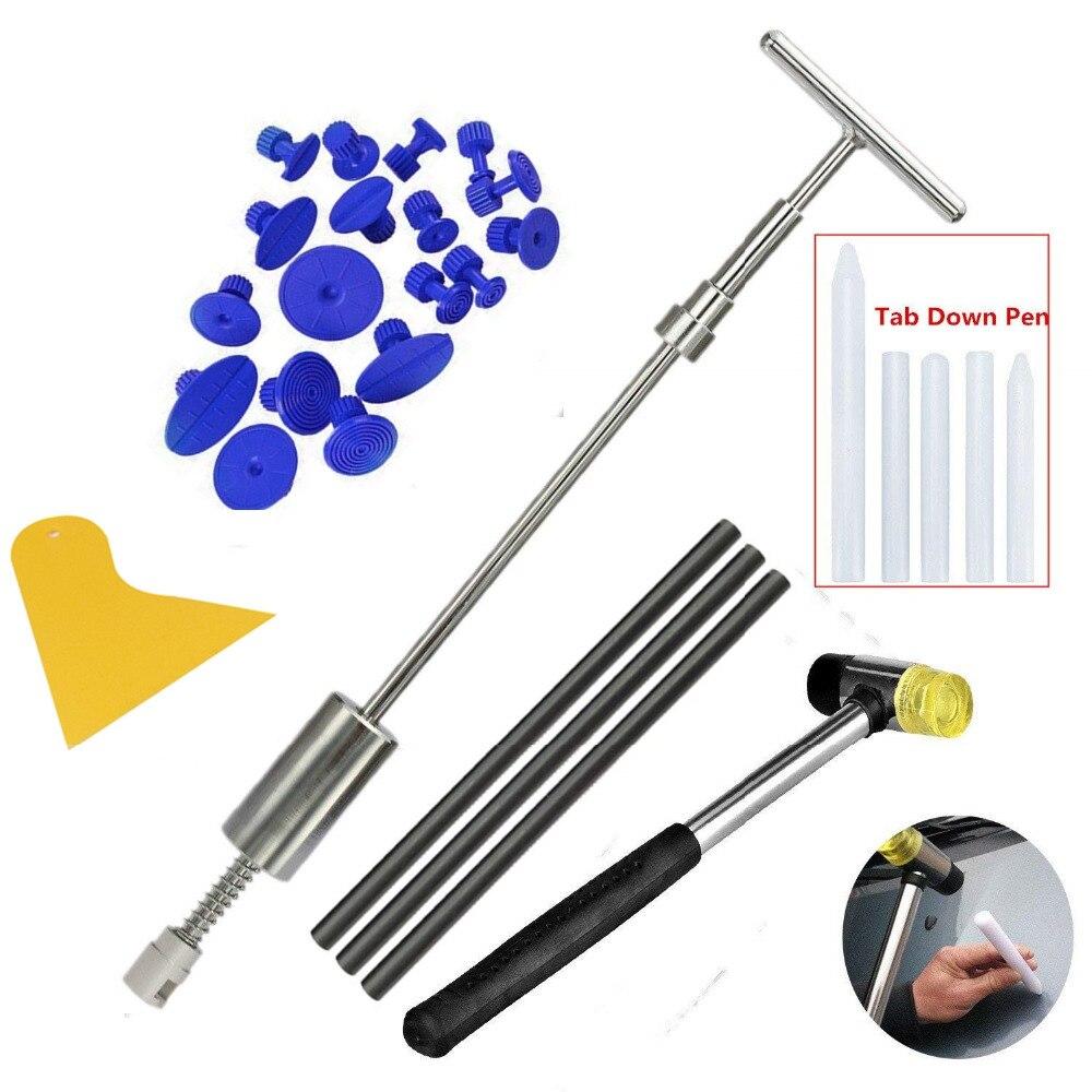 PDR Dent Remover Tools con Grip Pro Slide Hammer Dent Puller Dent Martello con 5 pz Tab Imbottiture Penna 18 puller Tabs per Grandine Danni