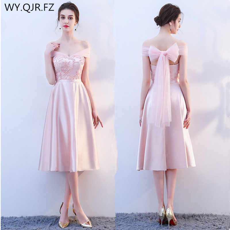 KBS025F Medium Boat Neck pink lace up Bridesmaid Dresses wedding party prom dress  2018 spring bd58a70260f3