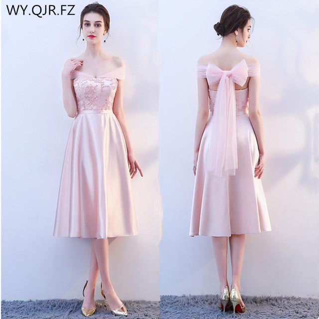 7ae9f91f55f5 KBS025F Medium Boat Neck pink lace up Bridesmaid Dresses wedding party prom  dress 2018 spring wholesale cheap Bridal clothing