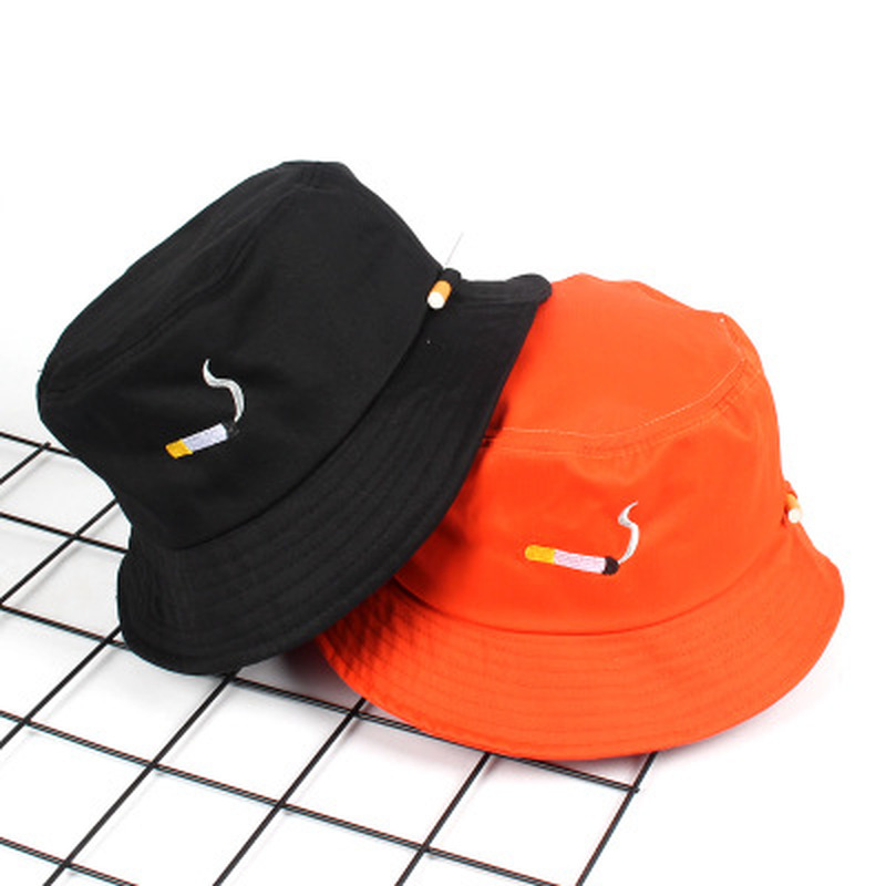 5c510267b47 Cigarette Embroidery Bucket Hat for Men Women Hip Hop Fisherman Hat Adult  Panama Bob Hat Summer