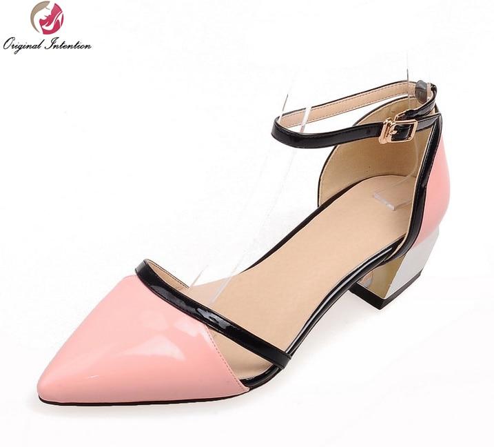Первоначальное Намерение Женщины Сандалии Квадратных Каблуках Сандалии Элегантный Лакированная Кожа Розовый Черный Белый Обувь Женщина Плюс Размер 4-16