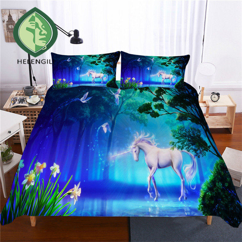 HELENGILI 3D Bedding Set Unicorn Print Duvet Cover Set Lifelike Bedclothes with Pillowcase Bed Set Home Textiles #DJS-47HELENGILI 3D Bedding Set Unicorn Print Duvet Cover Set Lifelike Bedclothes with Pillowcase Bed Set Home Textiles #DJS-47