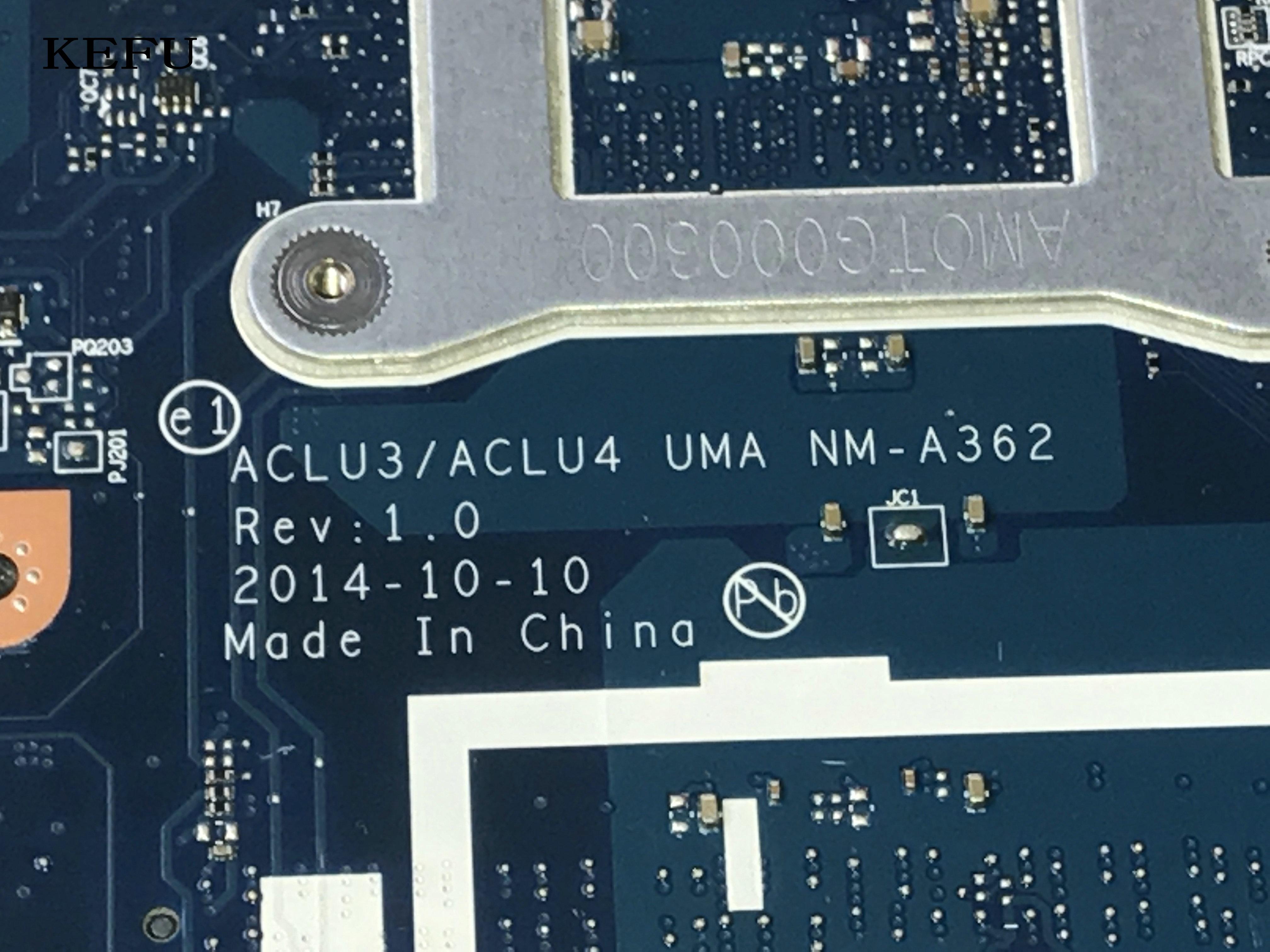 KEFU 100% NEW , ACLU3/ ACLU4 UMA NM-A362 FOR LENOVO G50-80 LAPTOP MOTHERBOARD ,celeron 3558u, Mainboard.(qualified Ok)