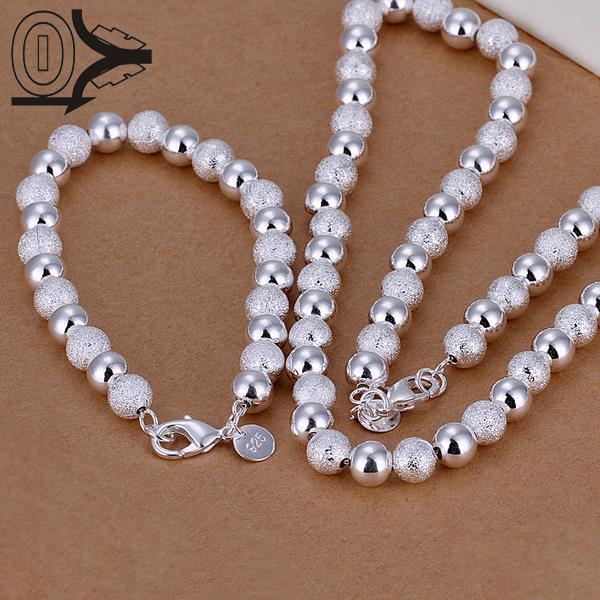 Hot Sale Silver Plated Jewery Set,Fashion Bridal Accessories,8MM Light Sand Ball Bead Necklace Bracelet Two-pieces