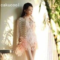 Cakucool Женская Солнцезащитная куртка прозрачная вышитая шелковая верхняя одежда с длинным рукавом Тонкая подиумная дизайнерская органза Же