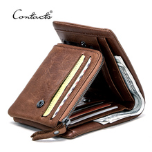 CONTACTS Genuine Leather Men Wallets Vintage Trifold Wallet Coin Purse Male Wallet Small Card Holders Short Walet Portomonee
