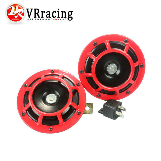 VR RACING- RED 2pcs/1 Pair 12v 110dB SUPER LOUD COMPACT ELECTRIC AIR BLAST TONE HORN FOR MOTORCYCLE AND CAR VR-LB31