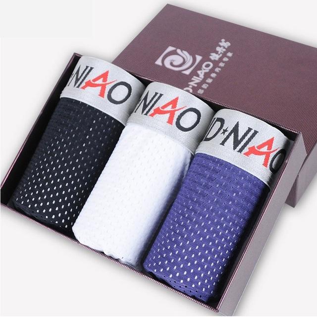 Siriusha los tres caja de regalo hombre boxer underwear transpirable cuatro código de diseño de seda u convexo ángulo