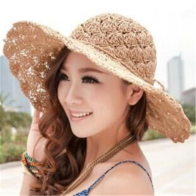 0eb4a887ec5 2016 Korean summer new hollow fan handmade straw hat large brimmed straw  hat sun hat female