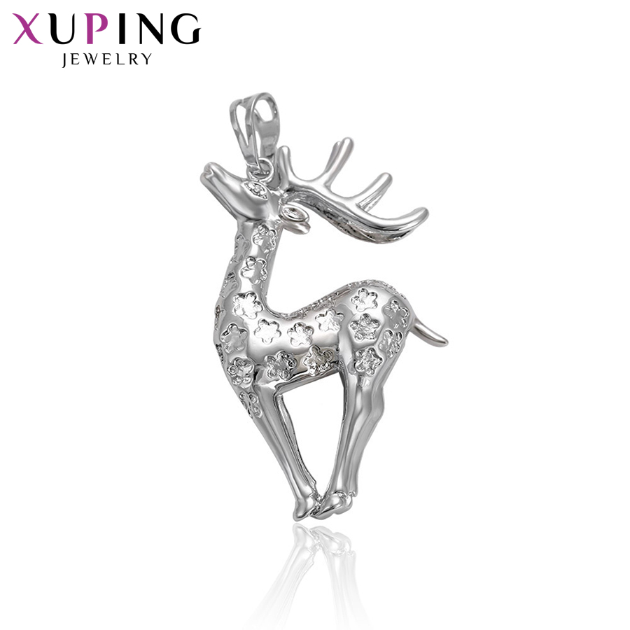 11.11 Deals Xuping Fashion Sika Deer Shape Necklace Pendant With Synthetic CZ for Neutral Christmas Jewelry Gifts S71,1-32514