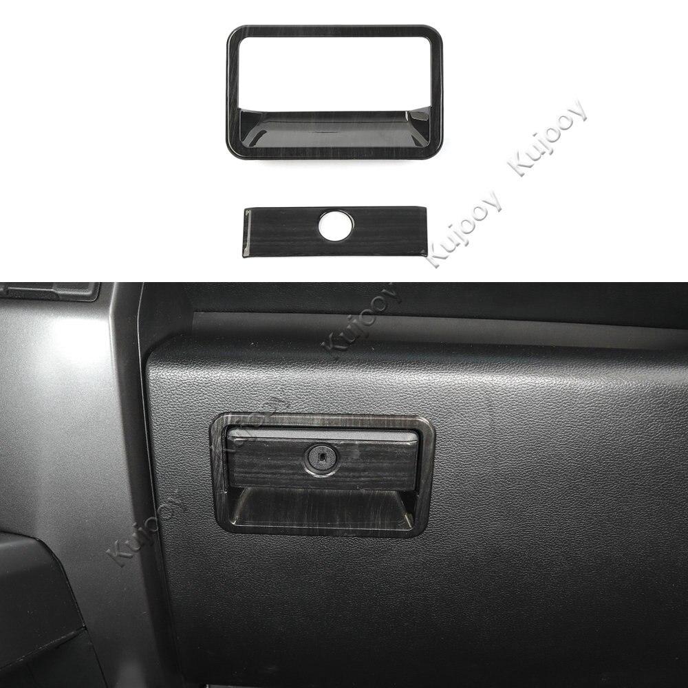 Grain en bois noir/Grain en bois ABS co-pilote boîte de rangement poignée de poignée décor garniture de couverture pour Ford F150 2015 + style de voiture