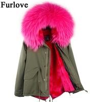 YOUMIGUE Army Green Black New Big Raccoon Fur Hood Winter Jacket Women Parka Natural Real Fur