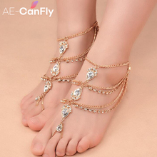 Gypsy Boho Gold Color Tassel Anklet Bracelet For Women Foot Jewelry Accessories Big Rhinestones Sandals Ankle Chain AL173