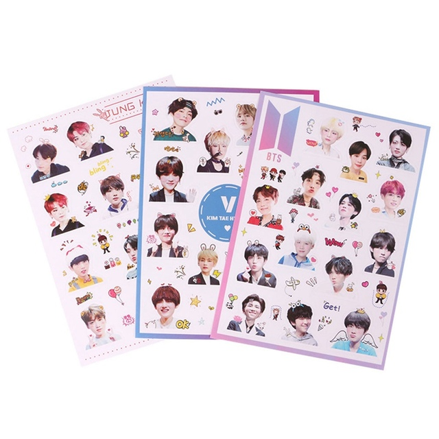 New Hot Sale Bts Stiker Fashion Diy K Pop Bangtan Boys Kerajinan