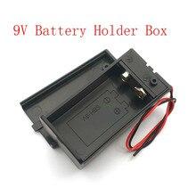 Caixa de suporte da bateria 9v, com fio, interruptor de ligação/desligamento, capa de cobertura