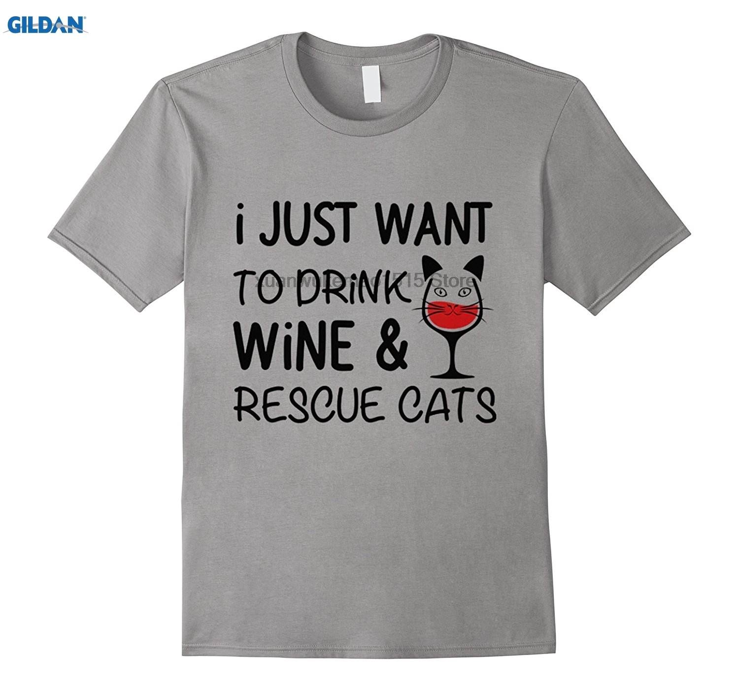 GILDAN 100% Cotton O-neck printed T-shirt Drink Wine Rescue Cats ...