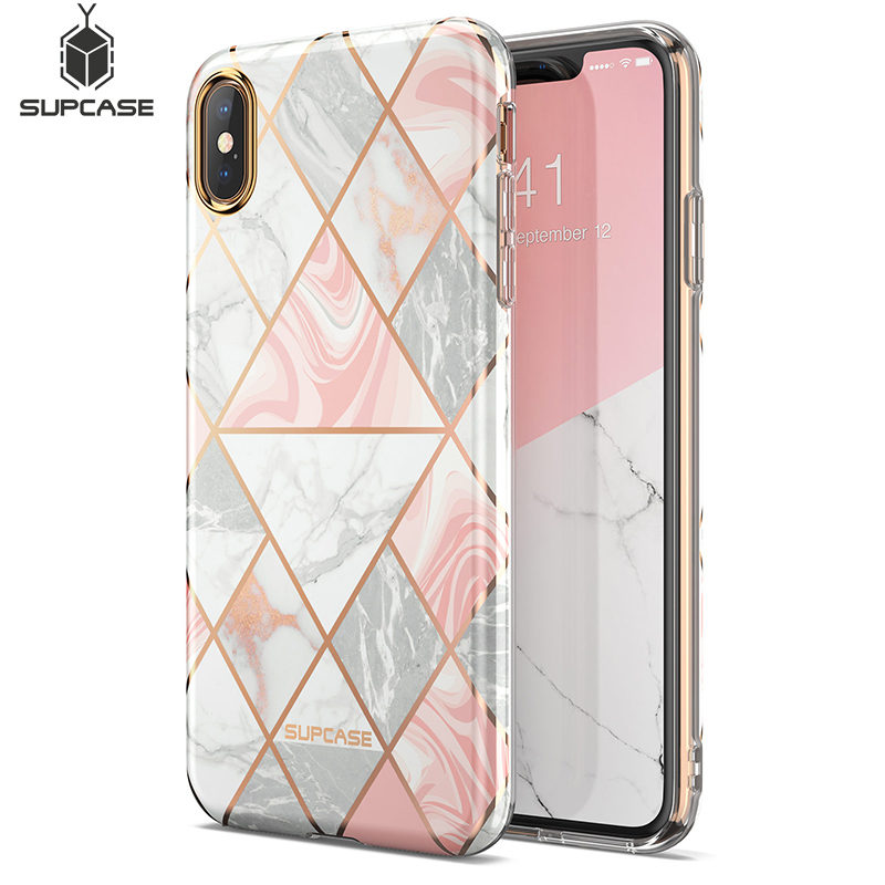 For Iphone Xs Max Case SUPCASE UB Metro Premium Slim Protective Soft TPU Case Plated Pink Marble Back Cover For IPhone X XS XR