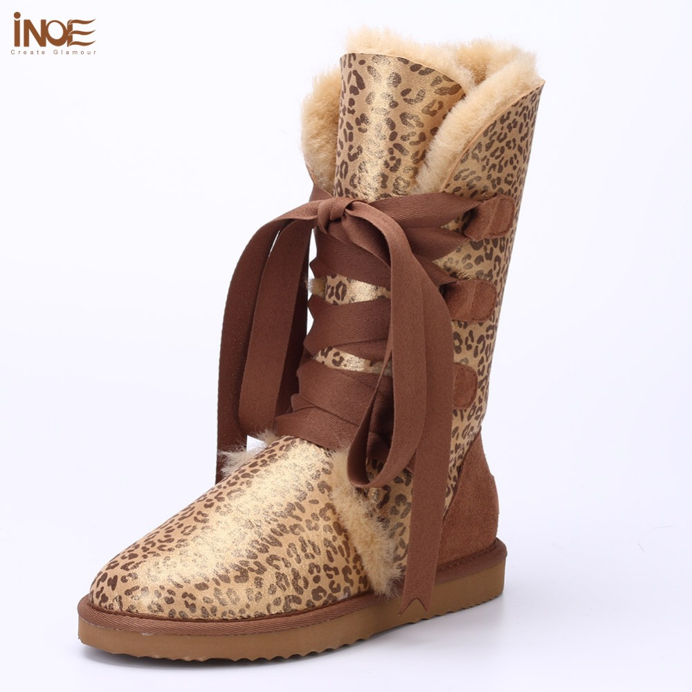 Fashion sheepskin leather wool fur snow boots for women winter shoes lace-up tall boots leopard print black navy blue waterproof