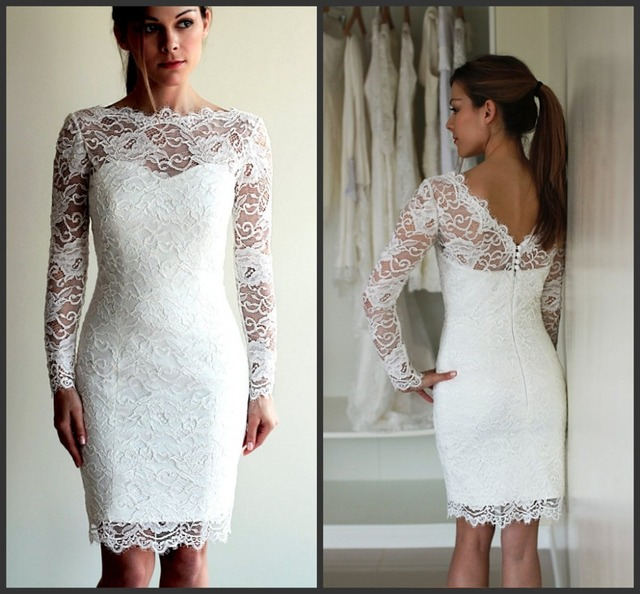 Full Lace Short Wedding Dresses With Long Sleeves V Back Straight Sheath Beach Bridal Weddign Gowns
