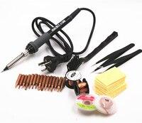 220 V 60 W Elektrische Soldeerbout Met koperen Tip Stand Soldeer pomp pincet solderen lont reparatie tool kit