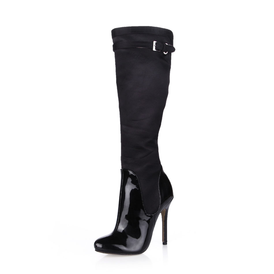 2016 Winter Black Sexy Party Shoes Women Round Toe Stiletto High Heels Buckle Ladies Knee-High Boots Zapatos Mujer 0640CBT-o2